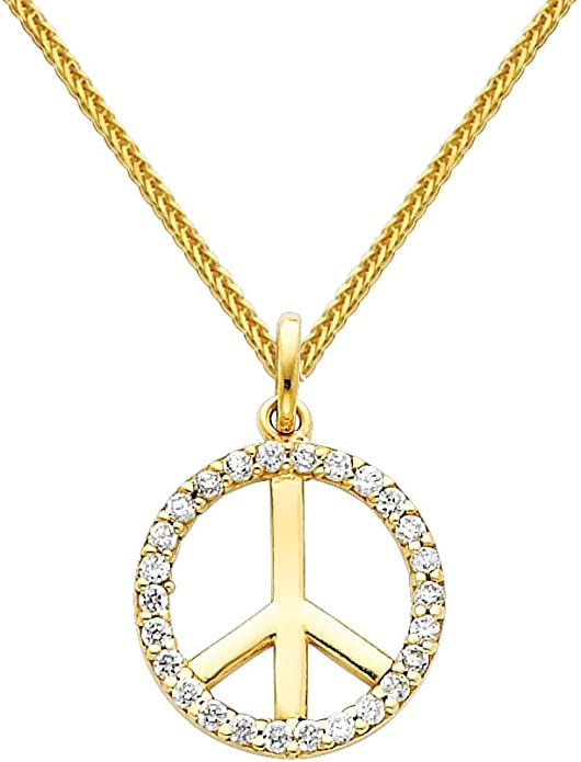 14k White Gold Cubic Zirconia Cross Pendant with 0.8-mm Square Wheat Chain