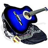 """38"""" BLUE Acoustic Guitar Starters Beginner Package, Guitars, Gig Bag, Strap, Pitch Pipe Tuner, 2 Pick Guards, Extra String & DirectlyCheap Pick (BU-AG38) [Teacher Approved]"""