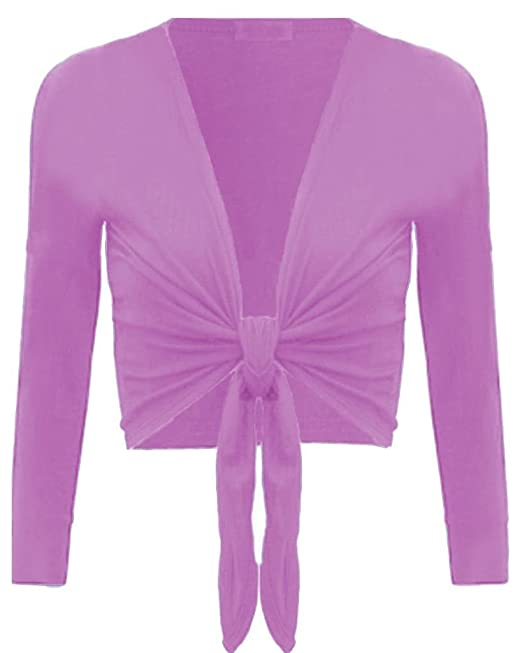 668be2b41654 New Womens Ladies Long Sleeve Tie Front Bolero Cropped Shrug Top ...