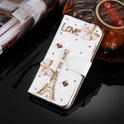 MXNET IPhone 7 Plus Case, Diamond verkrustete drei Schmetterlinge Pattern Horizontale Flip Leder Tasche mit magnetischen Wölbung & Card Slots & Handschlaufe CASE FÜR IPHONE 7 PLUS ( SKU : Ip7p4910m )