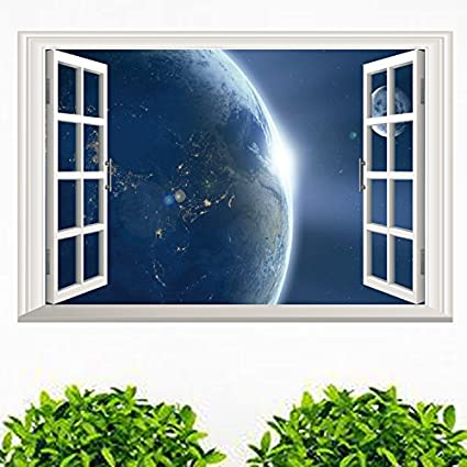 01a1591c4 Image Unavailable. Image not available for. Color  Ducklingup 3D Window  View Universe Eearth Planet Outer Space Mural Art Poster Sticker Home Wall  Decal
