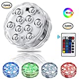 Submersible LED Light, LEShop 10 LED RGB Waterproof Battery Powered Lights with IR Remote Controller for Aquarium, Vase Base, Pond, Swimming Pool, Garden, Party, Weeding, Christmas, Halloween (2)