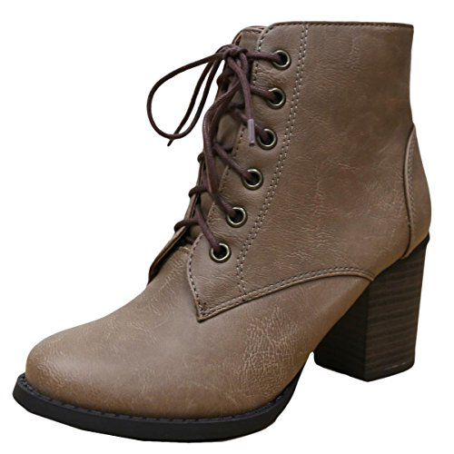 Cambridge Select Women's Zipper Lace Up Chunky Heel Ankle Bootie (6 B(M) US, Taupe PU) (Tie Bootie)