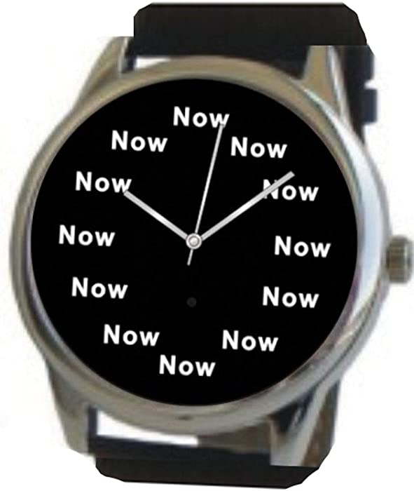 """""""Now"""" Is the Time That Is Shown Each Hour on the Black Dial of the Extra Large Polished Chrome Watch with a Black Leather Strap - 10121853 , B00MQ86Q2A , 285_B00MQ86Q2A , 2410505 , Now-Is-the-Time-That-Is-Shown-Each-Hour-on-the-Black-Dial-of-the-Extra-Large-Polished-Chrome-Watch-with-a-Black-Leather-Strap-285_B00MQ86Q2A , fado.vn , """"Now"""" Is the Time That Is Shown Each Hour on t"""