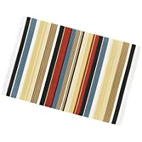 Fityle Dolls House Miniature Rug Striped Woven Floor Carpet Furniture Accessory