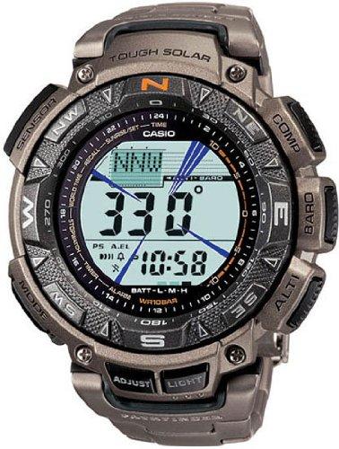 Casio Pathfinder Solar Triple Sensor - Casio Triple Sensor Solar Pathfinder Titanium Mens Watch PAG240T-7 Wrist Watch (Wristwatch)