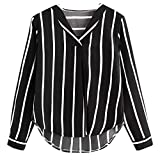 Kumike Women Casual Autumn Long Sleeve Turn-Down Collar V Neck Irregular Stripe Shirt Blouse