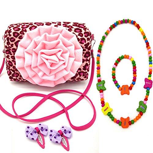 Little Girl Beauty Set Flower Shoulder Handbag + 2 Hair Clip + Necklace + Bracelet (Big flower Leopard)