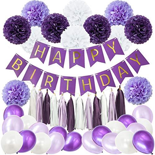 49PCS Purple Lavender White Happy Birthday Baby Shower Party Decoration Supply Kit - Hapy Birthday Banner, Tissue Paper Pom Pom, Tassel Garland, Latex Balloon]()