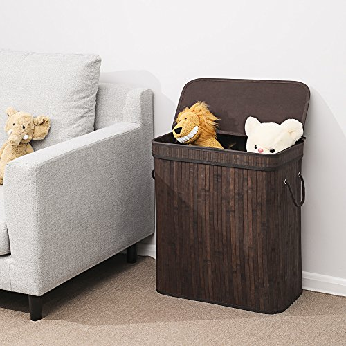 Songmics Divided Bamboo Laundry Basket Double Hamper With