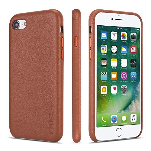 iPhone 7 Case iPhone 8 Case Rejazz Anti-Scratch iPhone 7 Cover iPhone 8 Cover Genuine Leather Apple iPhone Cases for iPhone 7/8 (4.7 Inch)(Brown) (Leather Apple Genuine Iphone)
