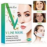 V Line Mask,Double Chin Reducer,Chin Up Patch,Face Lift V Lifting Chin Up Patch V Shape Face Lifting V Zone Mask Tape Firming Mask (Striped1)