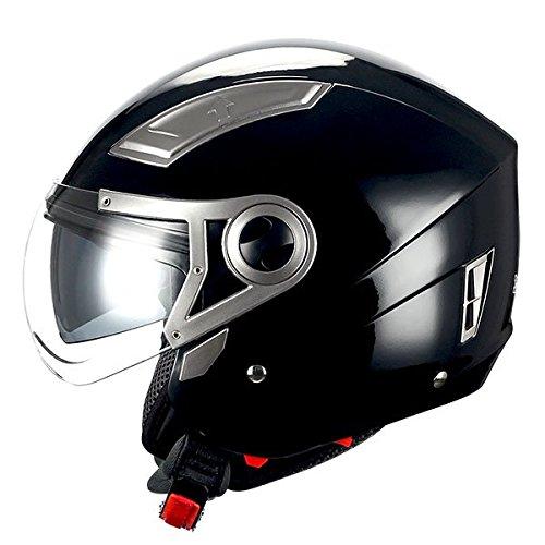 1STORM MOTORCYCLE OPEN FACE HELMET SCOOTER BIKE DUAL LENS/SUN VISOR GLOSSY BLACK