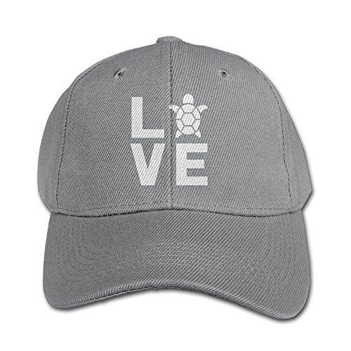 TeeStars - I Love Turtles - Animal Lover Turtle Print Cute Kids Girls/Boys Low Profile Cap Classic Cotton Adjustable Plain Baseball Hat Ash