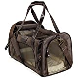 Next Level Pet Soft Sided Foldable Pet Carrier, Brown Leather Style Material, Small to Medium, Dog & Cat TSA Approved
