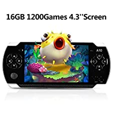 """Handheld Game Console, 16GB 4.3 """"Screen 1200 Classic Games, Portable Video Game Console,Support Arcade Games/GBA / GBC / NES / BIN / SMC, The best birthday gift or holiday gift for kids– Black"""