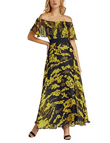 Flowers red APART Mehrfarbig yellow Donna Fashion Vestito amp; Black Yellow Cream Black Lace 1qznfaqPYW