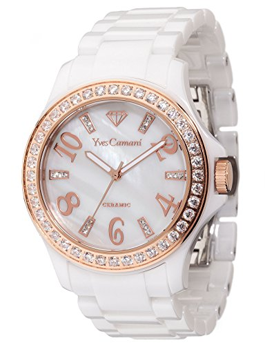Yves Camani Cereste Women's Watch Quartz Ceramic White Rosegold Mother Of Pearl Dial Ceramic Strap YC1077-D