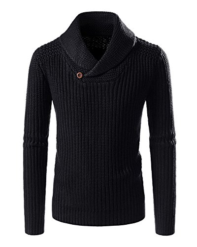 Runcati Mens Solid Color Casual Turn-Down Collar Slim Fit Autumn Pullovers Sweaters