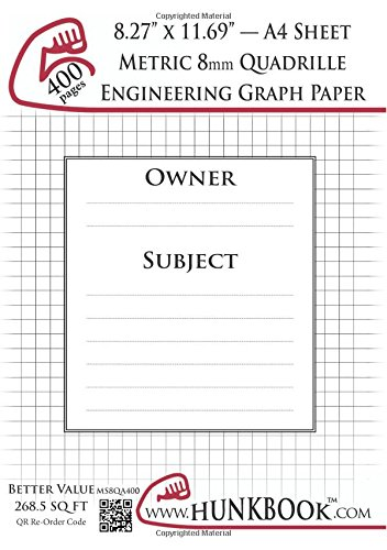 Engineering Graph Paper (MS8QA-400 pages): Metric 8mm Quadrille - A4 Sheet ebook