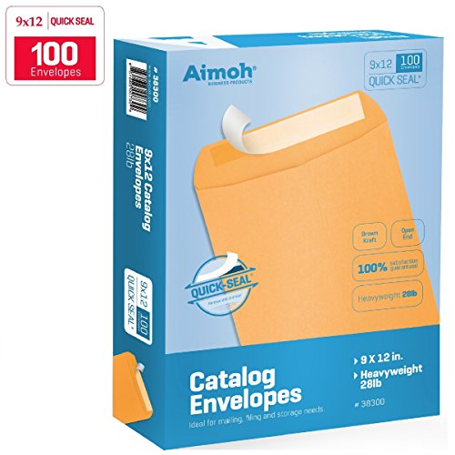 Grip Catalog Seal Envelopes - 9 X 12 Self-Seal Brown Kraft Catalog Envelopes - 28lb - 100 Count (38300)