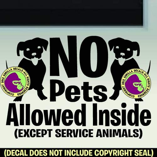 The Gorilla Farm NO Pets Allowed Inside Retail Shop Store Front Door Window Sign Vinyl Decal Sticker Black
