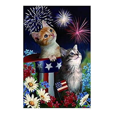 Polyester Fabric Garden Flags Lovely Kitties With Dasies American Hat Fade And Mildew Resistant Custom Banners Of Waterproof 12.5 X 18 Inch