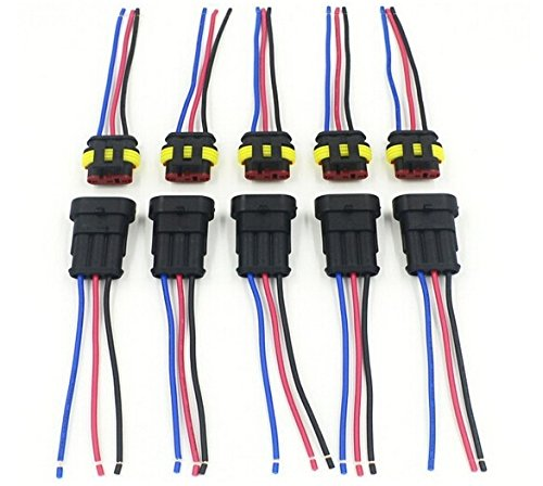 CNKF 5 Sets 3 Pin AMP superseal Car Waterproof Electrical Connector Plug with Wire Electrical Connector wire harness pigtail ()