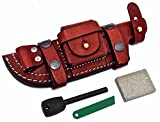 CFK Cutlery Company USA Custom Handmade Handcrafted REDDISH BROWN Bushcraft / Tactical Knife Buffalo Leather RIGHT HAND Horizontal Scout Knives Sheath & Sharpening Stone & Fire Starter CFK189
