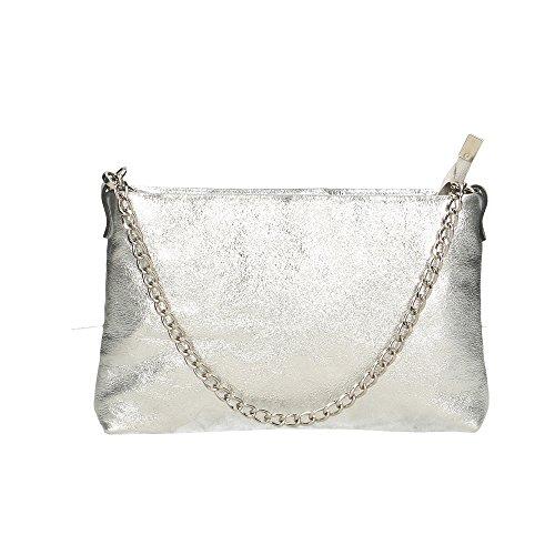 Aren Spalla 25x16x5 Cm Vera Borsa Donna A Made Pelle Argento Italy Da Bag In Shoulder S71FqnrS