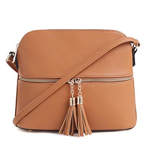 - SG SUGU Lightweight Medium Dome Crossbody Bag with Tassel | Zipper Pocket | Adjustable Strap (Cognac)