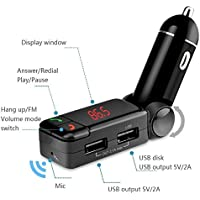 MMOBIEL Handsfree Bluetooth FM Radio Wireless Transmitter Dual Port 5V/2A Charger Car Kit with Music Control Audio Receiver +3.5mm AUX Stereo Output