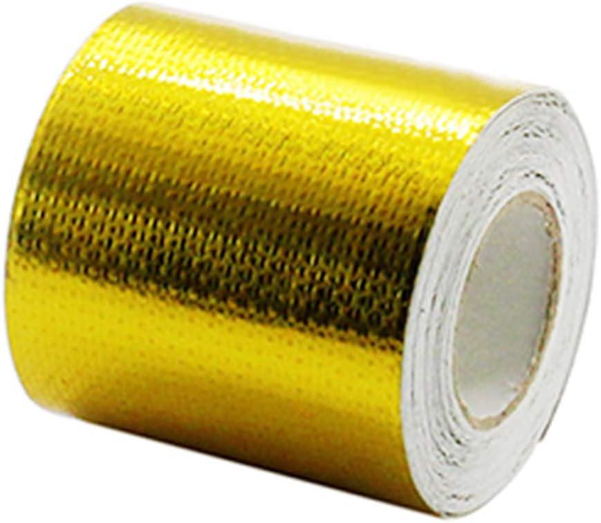 Cinta adhesiva Dragonaur de 5 m segura y pr/áctica de aluminio barrera de barrera t/érmica rollo de protecci/ón para cocina y ba/ño dorado