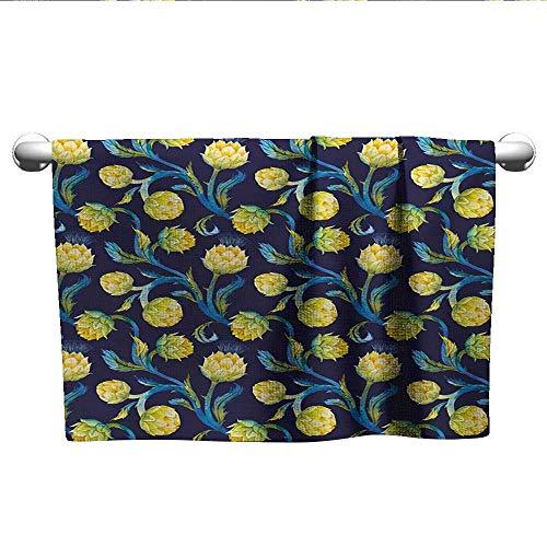 alisoso Artichoke,Kids Swimming Towels Watercolor Artichokes Abstract Color Scheme Art Nouveau Hand Towels for Bathroom Dark Blue Violet Blue and Yellow W 28