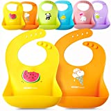 Single or Set of 2 Waterproof Silicone Baby Bib Light Weight Comfortable Easy Wipe Clean (Orange/Yellow, One Size)
