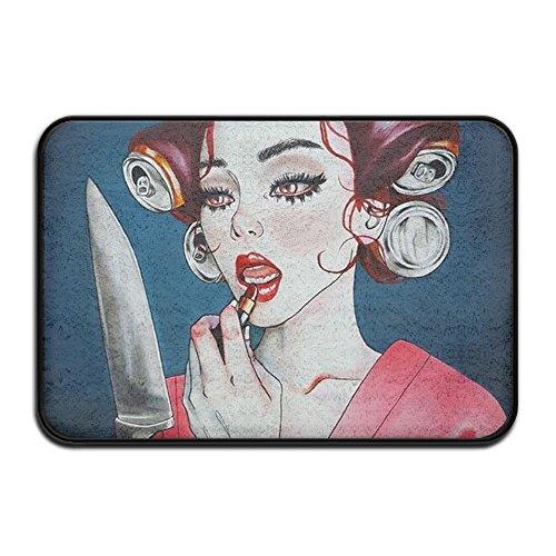 HOMESTORES Smart Dry Memory Foam Bath Kitchen Mat For Bathroom - Knife Mirror Goth Gotik Gothic Women Girl Make Up Art Shower Spa Rug Entrance Door Mats Home Decor With Non Slip Backing - 17x24 Inch -