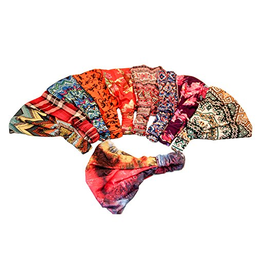 Price comparison product image Yeshan Elastic Boho Floal Style Headwrap Stretchy Moisture Hairband Bandana/Turban/Headband,pack of 8