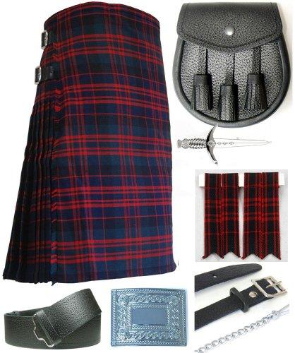 Mens Macdonald Modern Tartan 7 Piece Casual Kilt Outfit Size: 38'' - 42'' by Kilt Society