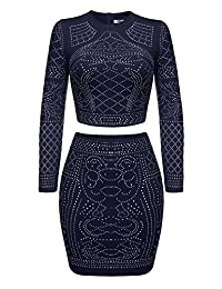 Meaneor Women Rhinestone Two Pieces Bodycon Dress Outfit Crop Top Midi Skirt Set