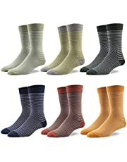 Gift Box Men's Casual Dress Socks Stripe for Suit 90% Cotton Rich Mid Calf Designer Pattern Cute style Colorful