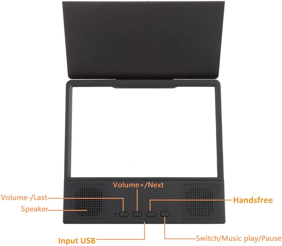 HD Portable Phone Projector with Bluetooth Speaker for iPhone accessorie and All Smart Phone 8 inches Screen Magnifier 3D Smart Mobile Phone Movies Amplifier with Foldable Holder Stand Black