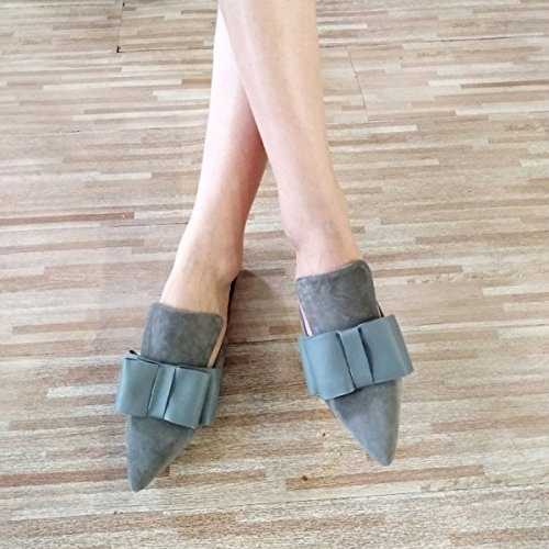 Loafers Womens Mule Bow Taupe for Mavirs Loafers On Backless suede Slip Women Slippers Suede Loafers Embellished HtznwCq7x
