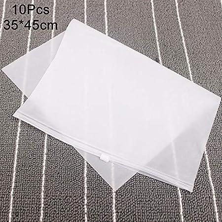 lzndeal 10pcs Mat en Plastique Clair Sac De Rangement Sacs De Voyage Sacs Zip Lock Valve Slide Joint Emballage Sacs Pochette