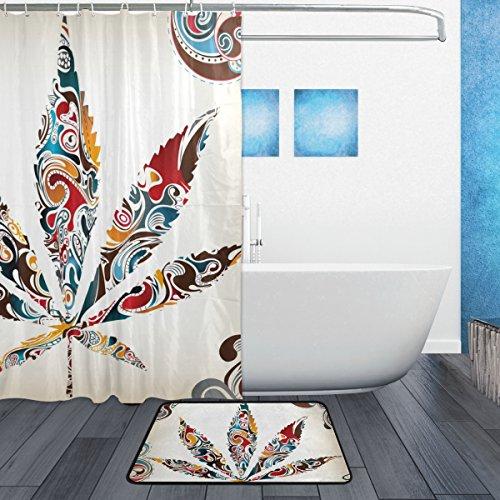 My Daily Vintage Leaf Of Cannabis Tribal Pattern Shower ... on leaf design curtains, leaf design sheets, leaf design furniture, leaf design rugs,