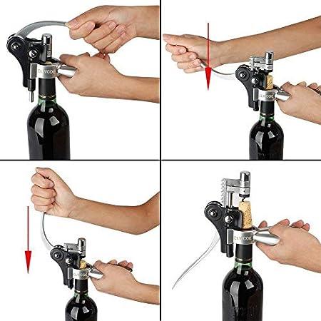 CLWCOE Sacacorchos,Abridores para Botellas con Estuche Regalo,Juegos de Accesorios para Vino con Abrebotellas,Cortacápsulas,Bombas,Recogegotas,Aireadores,Espiral,Tapones y Vertedores para Vino