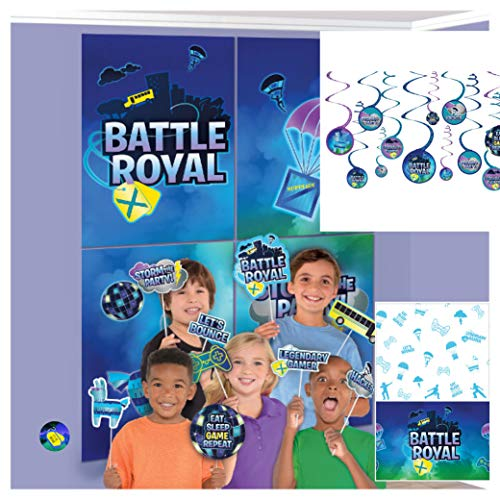 Video Game Party Decorations - Giant Wall Scene Setter with Props, String Dangling Decorations, Gaming Tablecover, Battle Birthday Sticker (Scenes Battle Best)