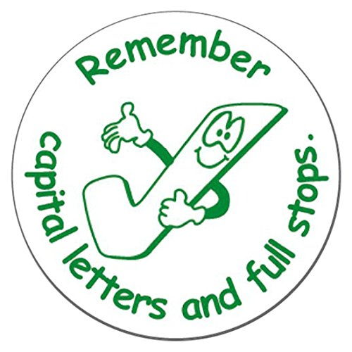 Remember Capital Letters & Full Stops Pre-Inked Green School Marking Stamper 21 Millimetres - Primary Teaching Services