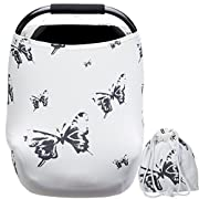 Nursing Covers for Baby Boys and Girls Butterfly Printing with Pouch Versatile Stretchy Babies Car Seat Covers Protector Infant Stroller Canopy for Travel Breastfeeding Covers Shopping Cart Cover