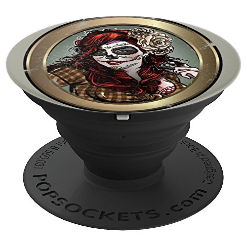 Sassy Sugar Skull Lady in Mirror - PopSockets Grip and Stand for Phones and Tablets