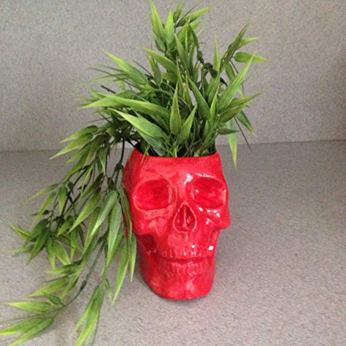 RED Halloween Skeleton Skull planter, Life size Pirate skull, Kitchen Counter Catch All ceramic pot, creepy head planter Container Bowl for Brushes, Plants, Bath Vanity Organizer
